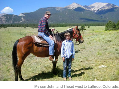 My son John and I head west to Lathrop, Colorado