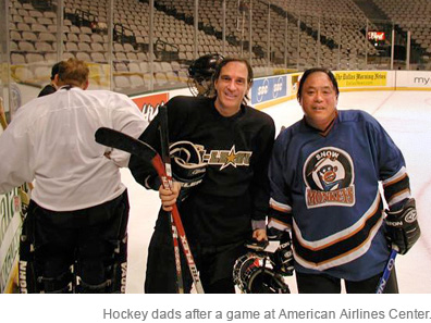 Hockey dads after a game at American Airlines Center
