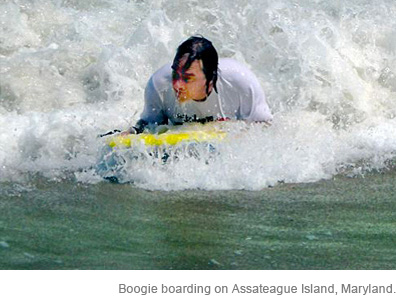 Boogie boarding on Assateague Island, Maryland